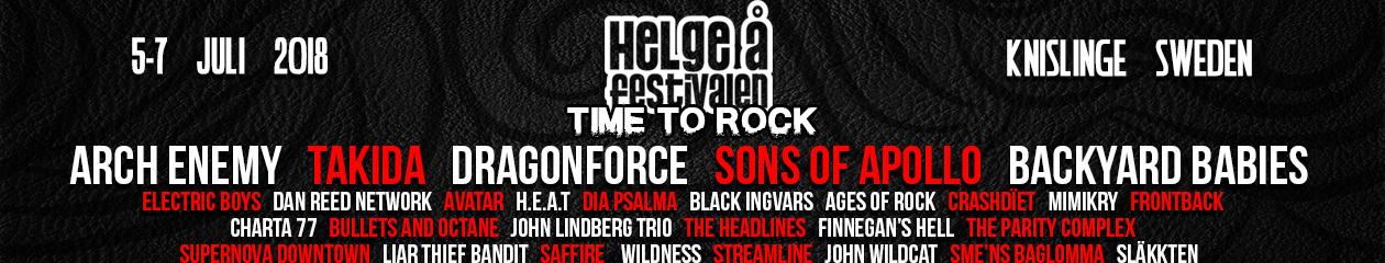Helgeåfestivalen – 5-7 juli 2018 – Time To Rock